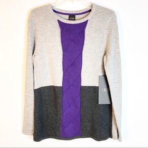 Choise   Crew Neck Purple Stripe Sweater Size M